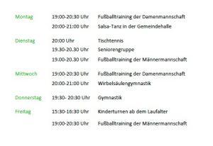 Trainingszeiten